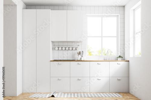 Fototapeta White kitchen interior, countertops obraz na płótnie