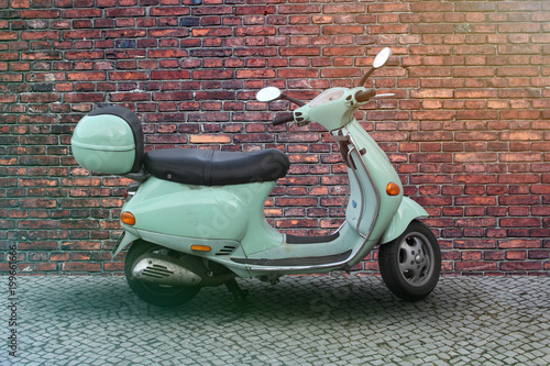 Foto op Canvas Scooter green italien scooter