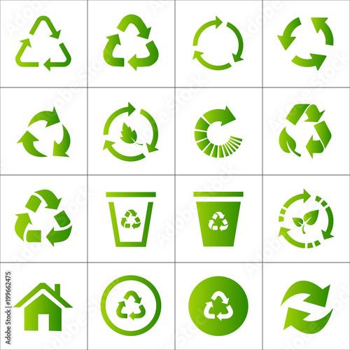 Valokuvatapetti Recycling icon set