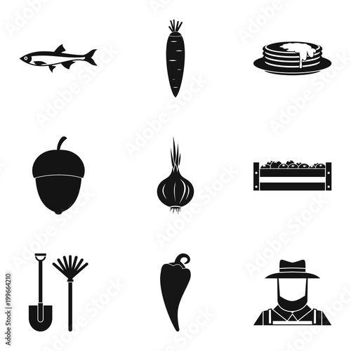 Vászonkép Enriched icons set, simple style