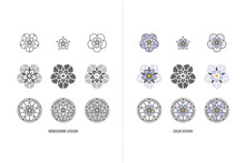 Forget-me-not Stylized Flower Logo Icon Collection