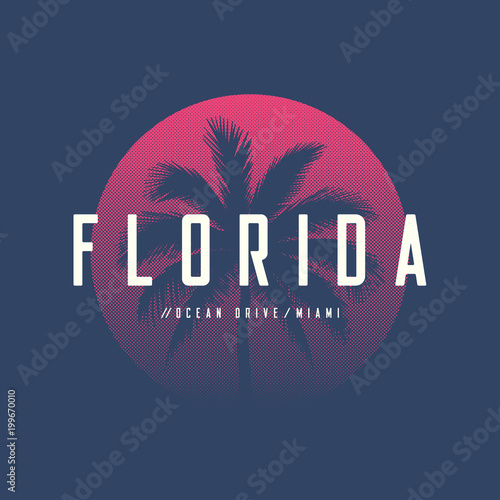 Valokuva  Florida Miami Ocean Drive t-shirt and apparel design with palm t
