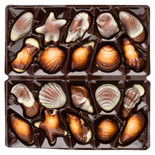 Assorted Chocolate Candies Of Sea-shells Shapes In A Box, Close-up. Top View, Flat Lay