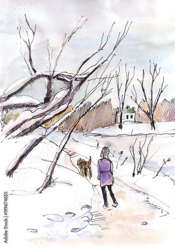 Spoed Foto op Canvas Wit walking with dog