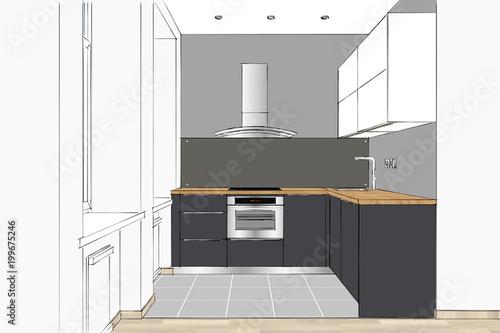 3d Rendering Modern Kitchen Design In Apartment Interior Kitchen
