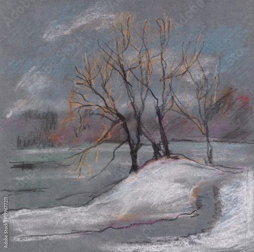 Foto op Canvas Grijs winter landscape with lake