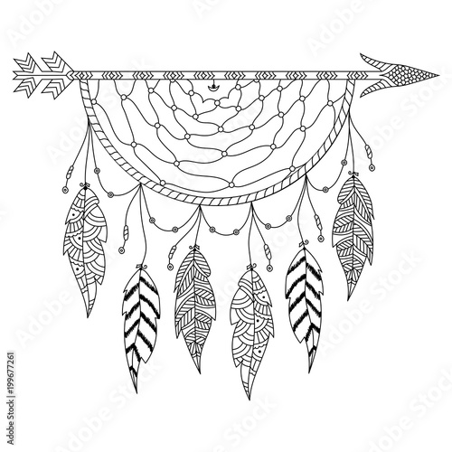 Photo sur Aluminium Style Boho Boho style hand drawn Dream Catcher with ethnic floral pattern, arrow and feathers.