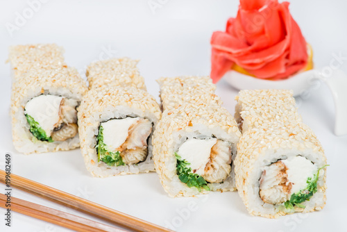Delicious Sushi Rolls With Rice Cream Cheese Cucumber And