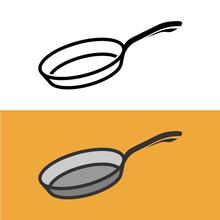 Frying Pan Logo. Cooking Iron Pan Sign.