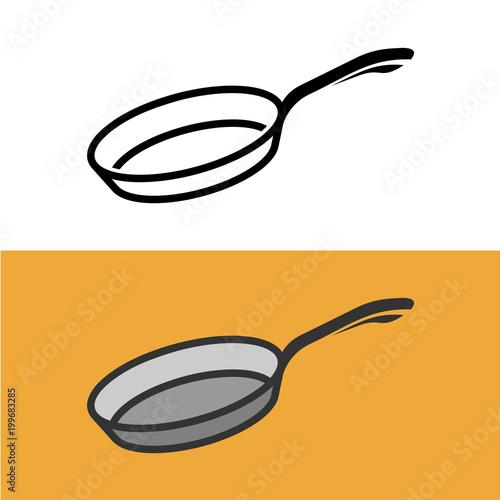 Fotografía Frying pan logo. Cooking iron pan sign.