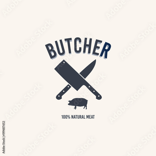 Butcher Shop Logo Butchery Label With Sample Text Knives And A Pig