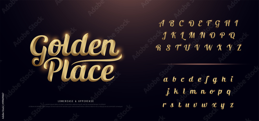 Fototapety, obrazy: Set of Elegant Gold Colored Metal Chrome alphabet font. Typography classic style golden font set for logo, Poster, Invitation. vector illustration
