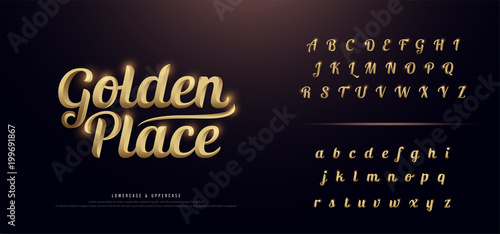 Valokuva  Set of Elegant Gold Colored Metal Chrome alphabet font