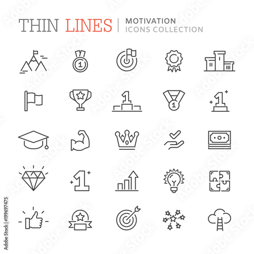 Collection of motivation icons Wall mural