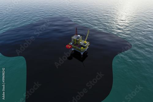 Fotografija  oil slick on the sea crash on the oil platform 3d