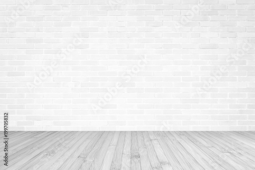 Fototapeta White brick wall with wooden floor textured background in light grey color obraz na płótnie