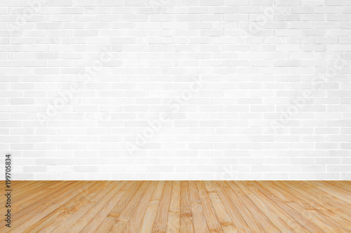 Fototapeta White brick wall with wooden floor textured background in yellow brown color obraz na płótnie
