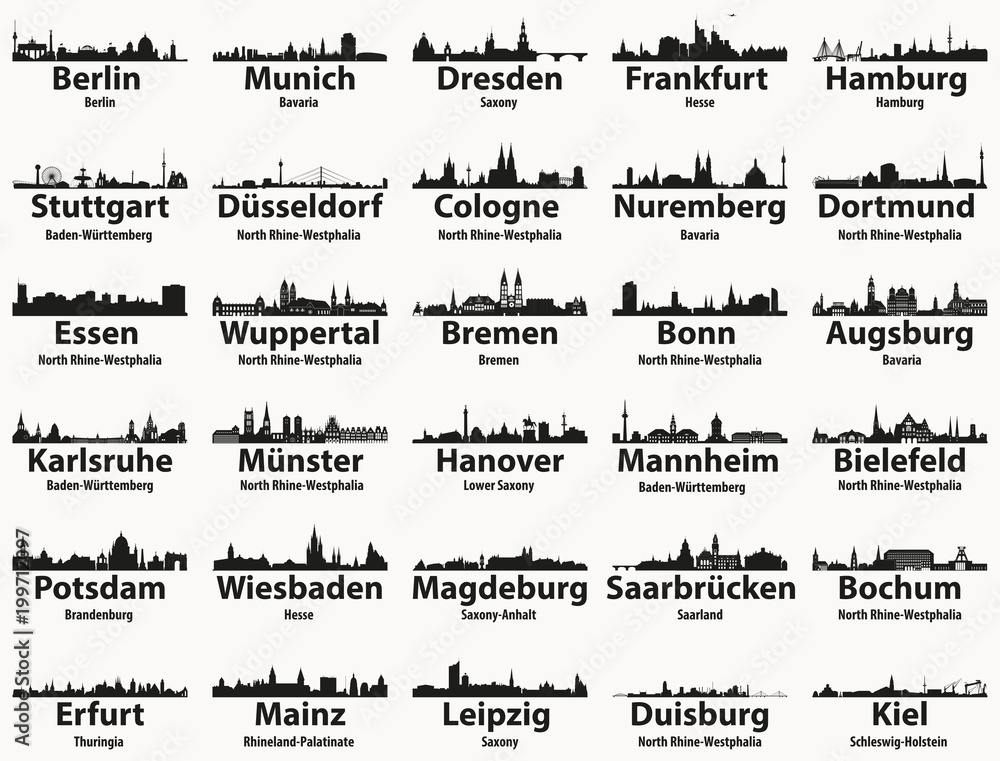 Fototapety, obrazy: Germany largest cities skylines silhouettes vector set