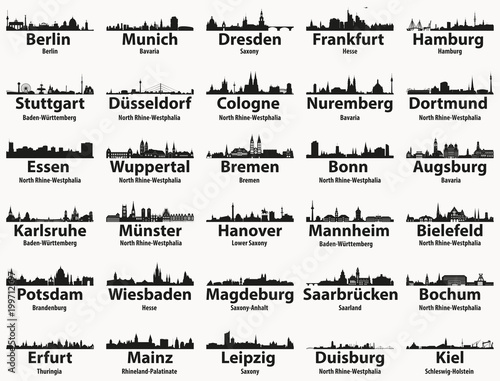 Photo  Germany largest cities skylines silhouettes vector set