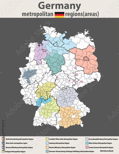 vector high detailed map of Germany metropolitan regions (areas ...