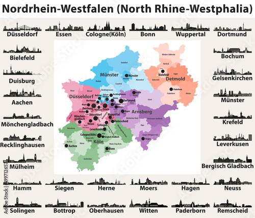 Germany state North Rhine-Westphalia high detailed vector ...