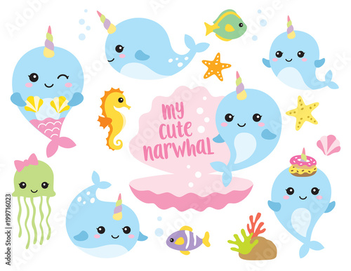 Fototapeta premium Ilustracja wektorowa cute baby narwal lub postaci jednorożca wieloryba z rybami, konikami morskimi, meduzami, rozgwiazdami i muszlami.