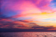 canvas print picture - Tropical colorful dramatic sunset with cloudy sky . Evening calm on the Gulf of Thailand. Bright afterglow.