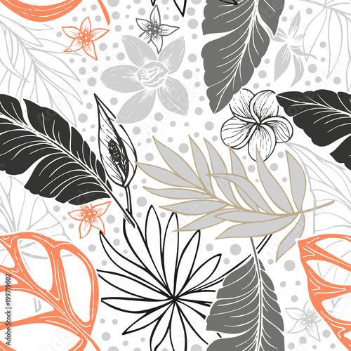wektor bez szwu piękny artystyczny jasny tropikalny wzór z banana, Syngonium i Dracaena liść, lato plaża zabawa, kolorowe oryginalne stylowe kwiatowy tło wydruku, fantastyczny las