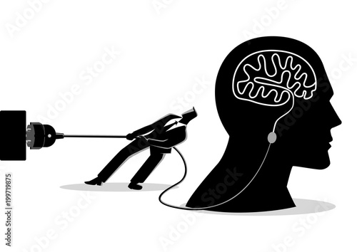 Fotomural Businessman trying to unplug the brain