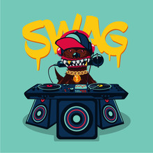 Hip-hop Poster With Dog. Rap M...