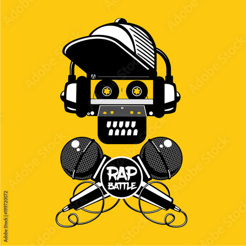 Photo  Rap battle sign with skull and two microphones