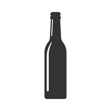 Beer Bottle Icon In Flat Style...