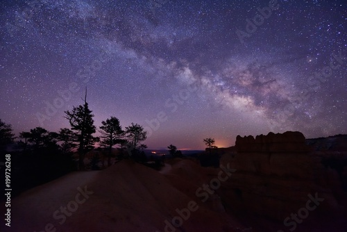 Canvas Print Milky Way Over Bryce Canyon