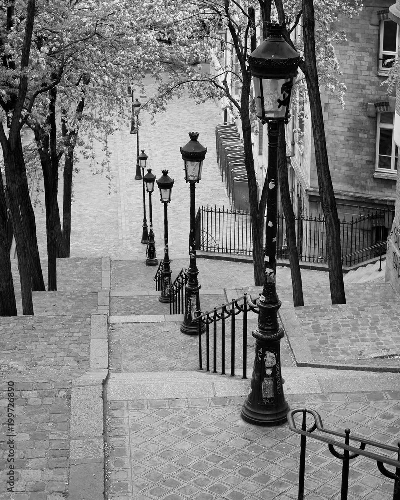 Fototapeta Montmartre Steps (B/W), Paris, France