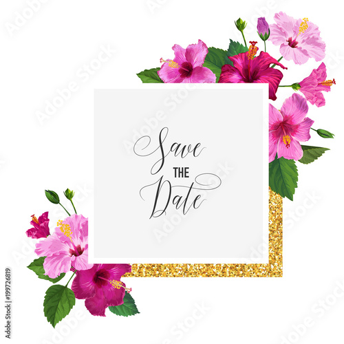 Wedding Invitation Template With Hibiscus Flowers And Golden Frame