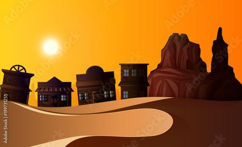 Garden Poster Brown Desert scene with many buildings at sunset