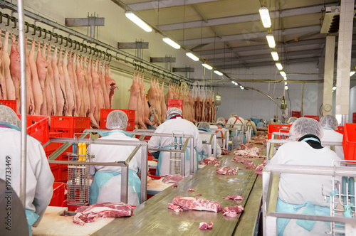 Photo workers of pork meat manufacturing