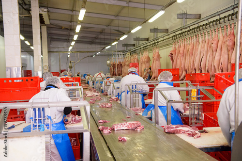 Fototapety, obrazy: workers of pork meat manufacturing
