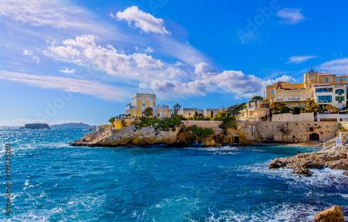 Foto op Plexiglas Palermo Marseille, France, March 2018, Maldorme bay on the Mediterranean sea