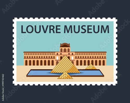 Fotografía landmarks of the world beatiful postal of louvre museum blue background vector i