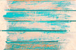 Leinwandbild Motiv Beach background - top view of beach sand on old wood plank in blue sea paint background. summer vacation concept. vintage color tone.
