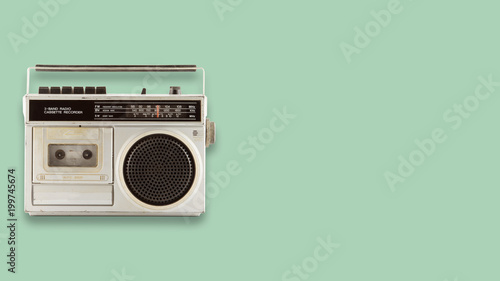 Fotografía Radio cassette recorder and player on color background