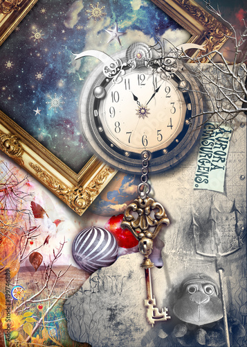 Photo Stands Imagination Anywhere out of the world. Fairytale and enchanted landscape with key and clock.