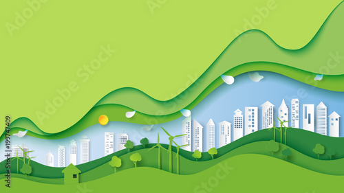 Spoed Foto op Canvas Lime groen Ecology and environment conservation creative idea concept design.Green eco urban city and nature landscape background paper art style.Vector illustration.