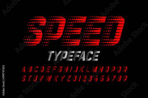 Fotografía  Speedy style font, alphabet and numbers