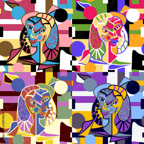 Abstract Faces Seamless Vector Pattern - Original Art Pieces in a Repeating Seam Wallpaper Mural