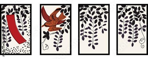 Fotografie, Obraz  花札のイラスト|4月藤 藤に不如帰|日本のカードゲーム |ベクターデータ |手描き・フリーハンド