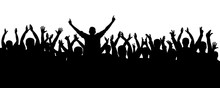 Applause Cheerful Crowd People Silhouette. Concert, Party. Funny Cheering, Sports Fans, Isolated Vector