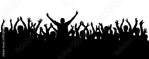 Fototapeta Applause cheerful crowd people silhouette