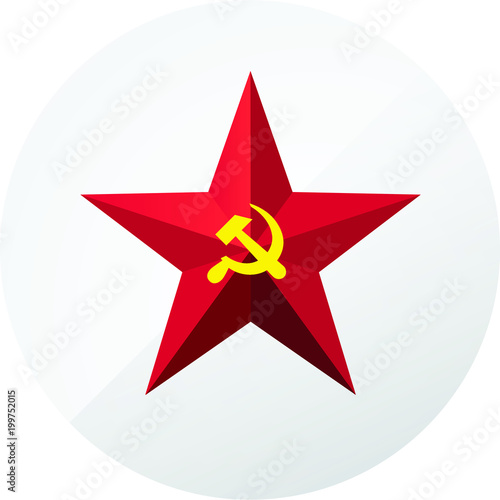 Red Star With A Sickle And A Hammer Symbol Of The Ussr And